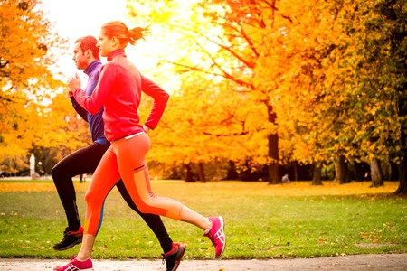 outdoor fitness: Running together - friends jogging together in park, rear view