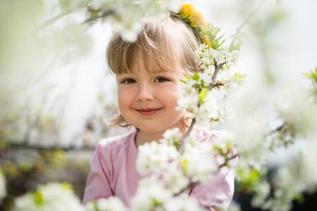 flower head: Girl spring portrait
