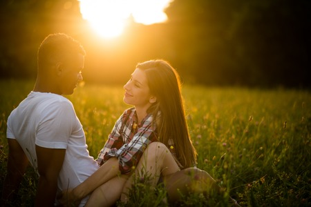 Summer romance - young couple on date Stock Photo