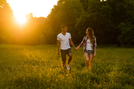 couple dating: Summer walk - young couple dating in nature