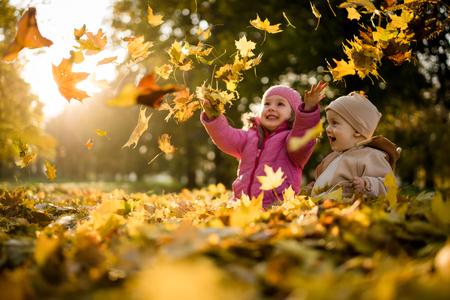 공원에서 재미 아이 나뭇잎 위로 던지고. 스톡 콘텐츠