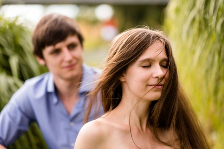 Outdoor shot of a young couple in nature