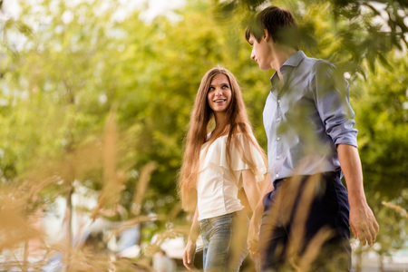 Couple spend their romantic date in park