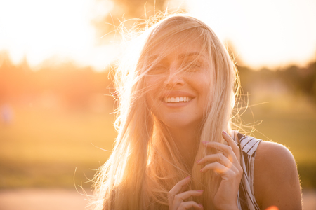 Young model shoot outdoors during sunset