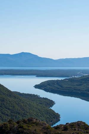 Lapataia bay landscape, Tierra del Fuego. Landscape of the Atlantic Ocean in Ushuaia, Argentina landmark. Foto de archivo