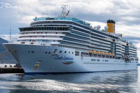 USHUAIA, ARGENTINA - april 04. 2018: big cruise ship at the Port of Ushuaia, the capital of Tierra del Fuego.