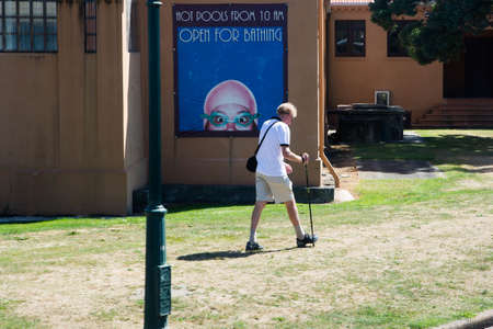 Rotorua, New Zealand: 09 May 2018: daily life around the beautiful Government garden and ancient bath house