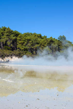 Geothermal Landscape with hot boiling mud and sulfur springs due to volcanic activity in Wai-O-Tapu, Thermal Wonderland New Zealand Foto de archivo
