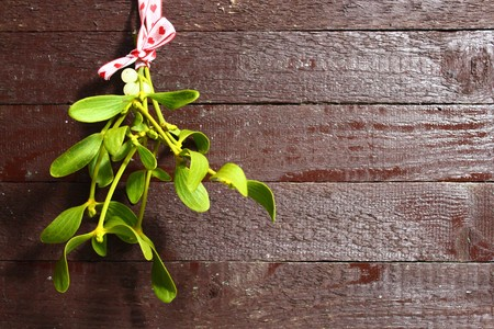 Mistletoe in front of brown wood background Stock Photo