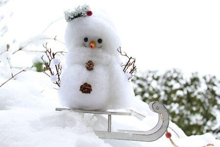 snowman on a sled