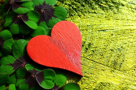 red heart on lucky clover