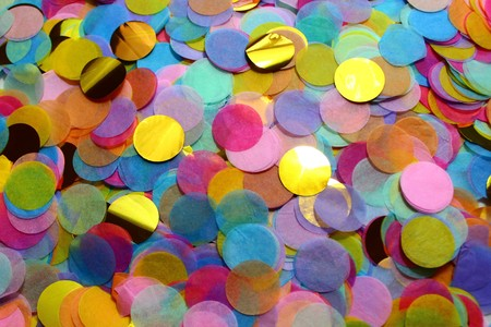 many colorful confettis