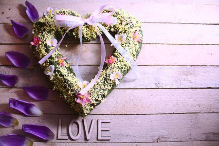 Heart on wooden boards