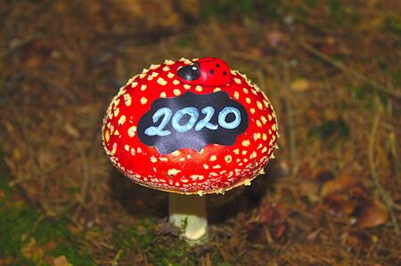 New year wishes with a fly agaric 版權商用圖片
