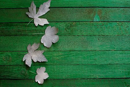White leaves on green boards