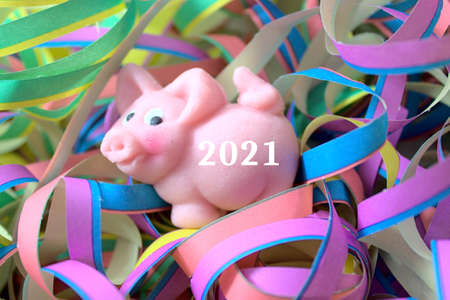 new year wishes with a marzipan pig