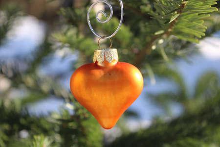a heart shaped christmas tree decoration on a Nordmann fir