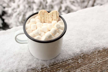 a cup with marshmallow and hot chocolate in the winter Archivio Fotografico