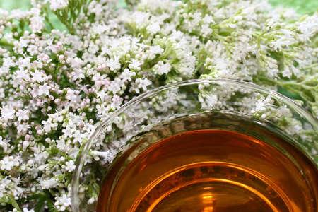 valerian tea on green boards