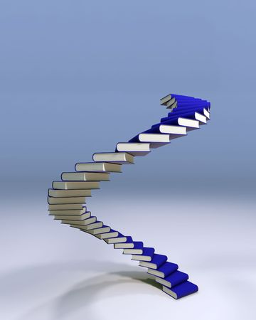 A spiral stair of books suggesting the way to success is knowledge