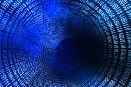 Tunnel of binary numbers with haze of blue smoke