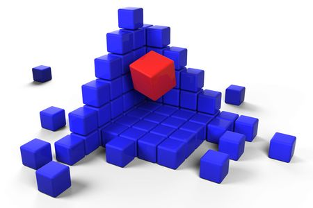 Red cube emerging from blue stacked cubes Stock Photo