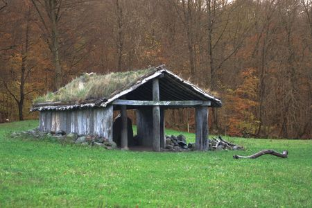 A reconstruction of a dead-house from the late stone age Stock Photo