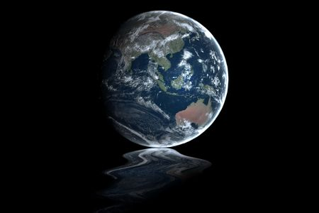 Earth in space with the south pole slowly melting