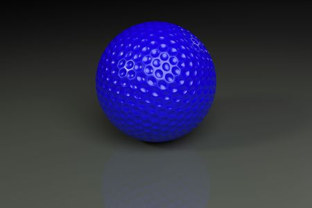 Blue golfball on gray slightly reflective background