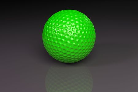 Green golfball on gray slightly reflective background