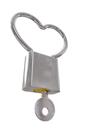 Heart shaped padlock with key and clipping path