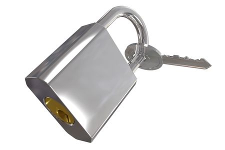Key locked to padlock including clipping path