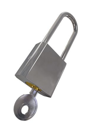 A shiny metal padlock with a key and clipping path Stock Photo - 6169575