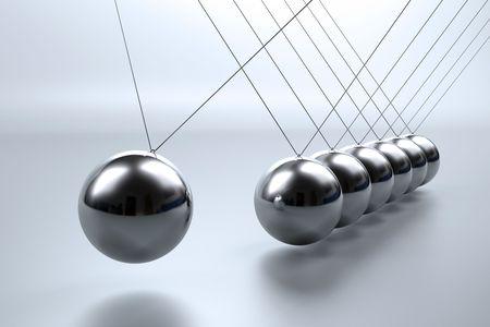 뉴턴의 요람에서 현에서 균형을 이루는 금속 진자 구슬