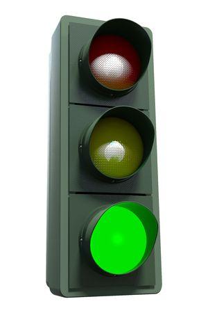 se�ales trafico: Un sem�foro verde incluyendo el trazado de recorte