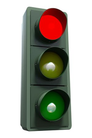 A red traffic light including clipping path