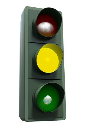 A yellow traffic light including clipping path