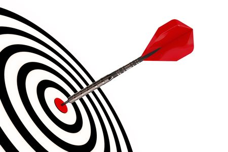 A dart arrow hits its target isolated with clipping path Stock Photo - 6197939