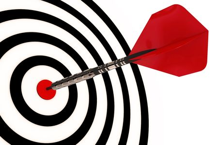 intention: A dart arrow hits its target isolated with clipping path