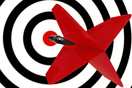 hits: A red dart arrow hits the center target Stock Photo