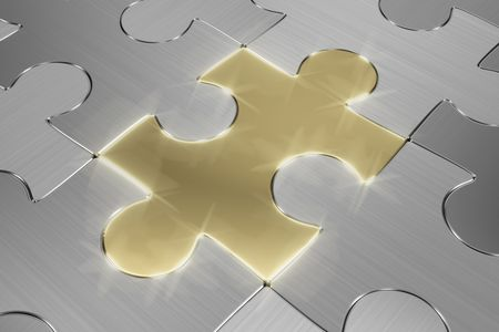 Brushed metal puzzle with a single glowing gold piece