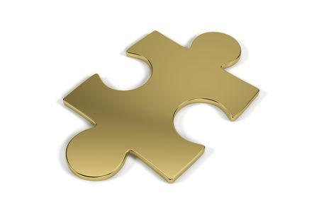 Single jigsaw puzzle piece made out of gold with clipping path