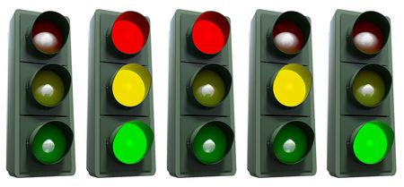 Trafficlight showing all its colors isolated on white including clipping path photo