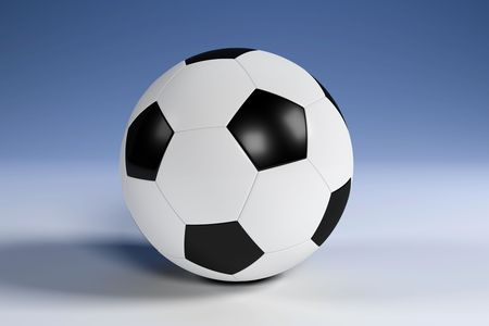 Black and white football with clipping path Stock Photo