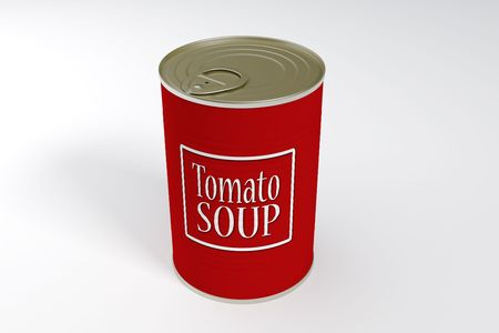 A can of tomato soup isolated with clipping path