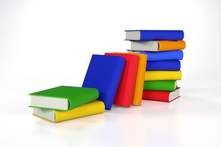 Stacks of coloured books Stock Photo
