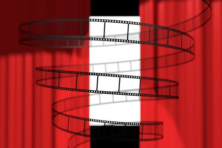 Filmstrip curling in a spiral in front of moviescreen Stock Photo