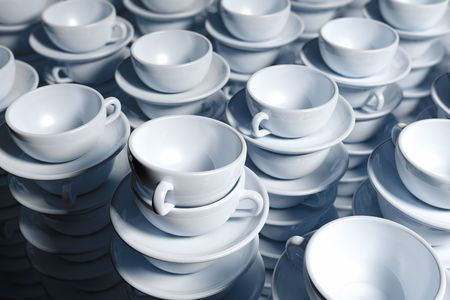 300 white stacked coffee cups Stock Photo