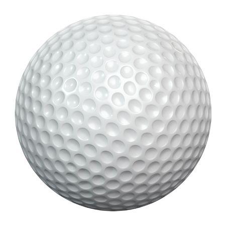 Une balle de golf blanc isolée sur fond blanc