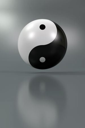 Modern Yin Yang symbol on a diffuse background Stock Photo